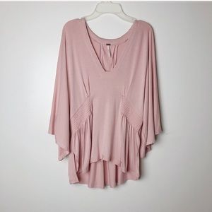 Free People   Baby Pink Smocked Sided Top
